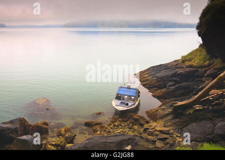 A small tour boat waiting in a little bay for the guests on a early foggy morning in Knight Inlet. - Stock Photo