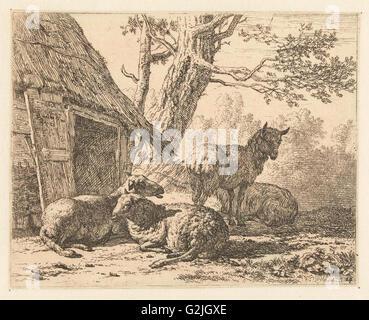 Four sheep, Karel Dujardin, 1658 - Stock Photo