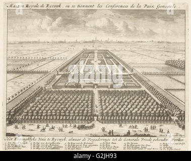 View of the gardens at the House to Nieu Burch in Rijswijk, 1697, Anonymous, Anna Beeck, Staten van Holland en West - Stock Photo