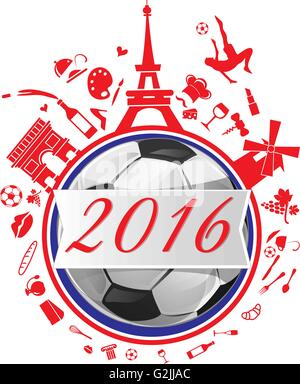 france background with flag and soccer ball - Stock Photo