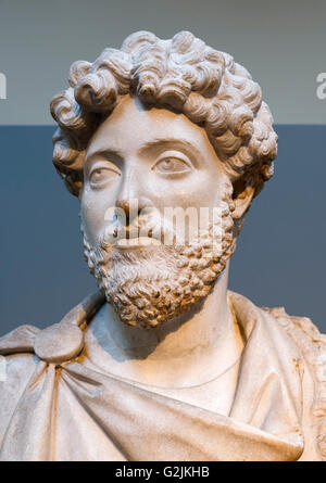 Marble bust of the Emperor Marcus Aurelius (AD 121 – 180), joint sixteenth Emperor of the Roman Empire (AD 161-180), - Stock Photo