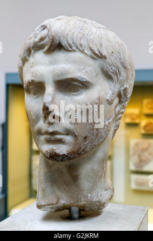 Marble head of the Emperor Augustus, (63 BC-14 AD), founder of the Roman Empire and its first Emperor (27 BC - AD - Stock Photo