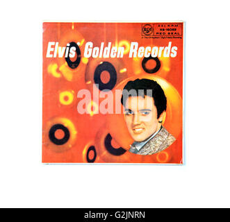 An Elvis Presley long playing record album cover entitled Elvis Golden Records. - Stock Photo