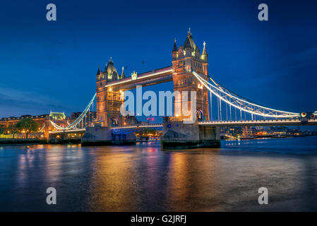 Tower Bridge over the River Thames in London at sunset Stock Photo