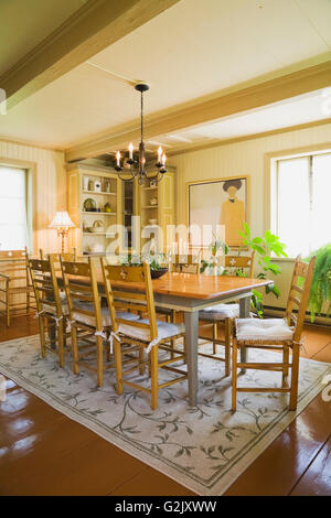 Antique Wooden Table Chairs In Dining Room Inside Old Reconstructed 1850s Cottage Style Log Home Quebec