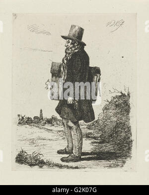 Portrait of the painter and printmaker Hermanus Jan Hendrik Rijkelijkhuizen, standing in a landscape at Utrecht, - Stock Photo