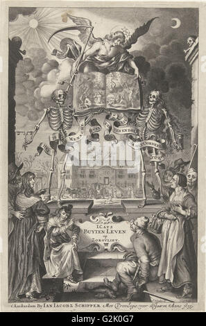 City People and peasants watching two skeletons and angel with book open by presentation of final judgment, Cornelis - Stock Photo