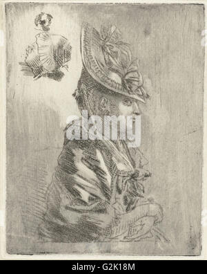 Study Sheet with the portrait of a young woman with hat and two smaller portraits, Louis Bernard Coclers, 1756-1871 - Stock Photo
