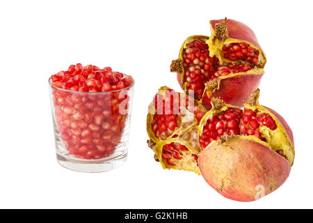 Ripe pomegranate isolated on a white background - Stock Photo