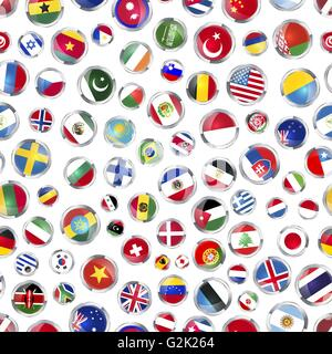 Glossy icons flags of world sovereign states on white, seamless pattern - Stock Photo