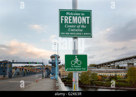 Sidewalk and bike trail over the Fremont Lift Bridge in Seattle, Washington - Stock Photo