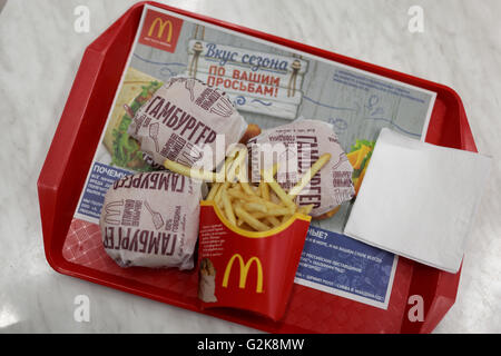 McDonald's Hamburgers and French fries - Stock Photo