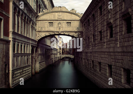 Bridge of Sighs over Canal, Venice, Italy - Stock Photo