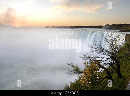 Niagara Falls, Horseshoe Falls at sunrise, Niagara Falls, Ontario Province, Canada - Stock Photo