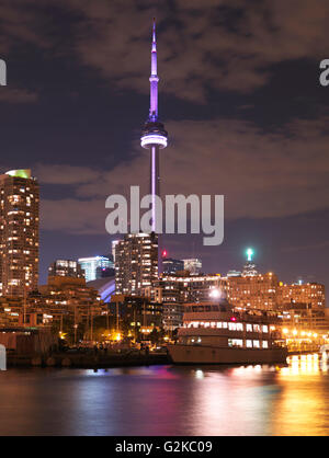 Toronto downtown harbourfront skyline nighttime scenery, Toronto, Ontario Province, Canada - Stock Photo