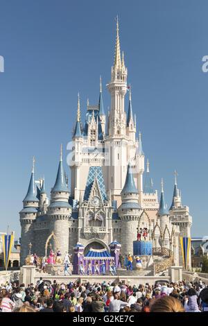 Cinderella Castle in the Magic Kingdom, Walt Disney World Resort, Bay Lake, Orange Conty, Florida, United States - Stock Photo