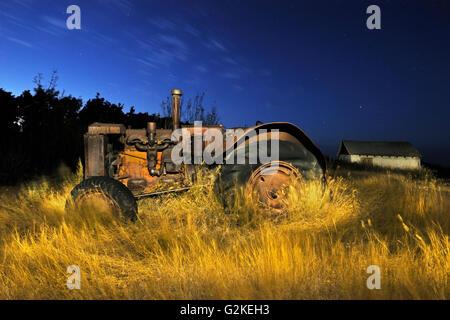 Old tractor at 'Bolton Farm' Baljennie Saskatchewan Canada - Stock Photo