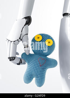 Robot holding doll, 3d rendering - Stock Photo