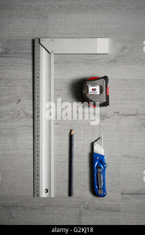 Measuring and cutting tools - Stock Photo