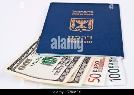 israeli passport and dollar bills isolated on white with cliping path - Stock Photo