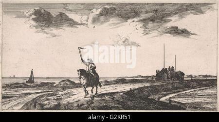 Postman riding along the beach, Jacob Quack, Jan Houwens (I), 1665 - Stock Photo