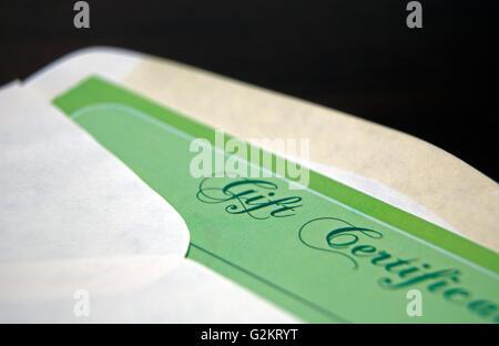 Gift Certificate in Envelope