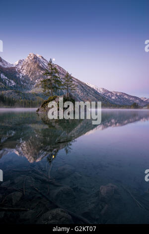 Dawn at lake 'Hintersee', Oberbayern in Germany - Stock Photo