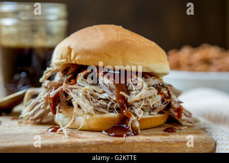 Pulled Pork Sandwich with Barbeque Sauce - Stock Photo