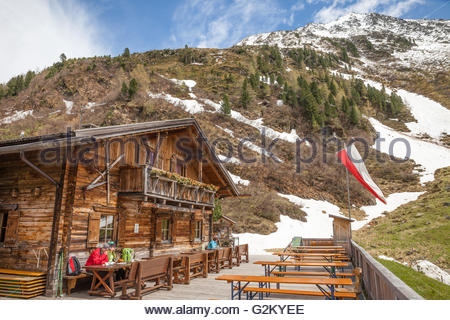 Alpine cabins in Riva di Tures, South Tyrol, Italy - Stock Photo