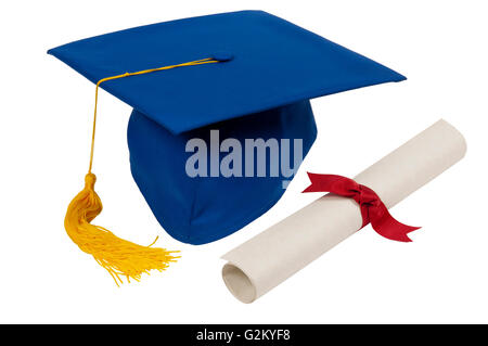 Blue Graduation Hat With Yellow Tassel And Diploma Isolated On White - Stock Photo