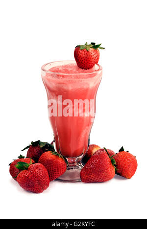 Cold And Delicious Strawberry Smoothie - Stock Photo