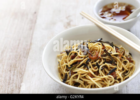 noodles with scallion oil and soy sauce, chinese Shanghai food - Stock Photo