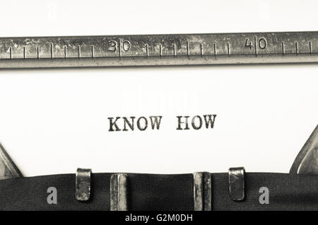 Words know how  typed on an old typewriter - Stock Photo