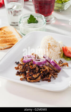 gyros meat on a plate - Stock Photo
