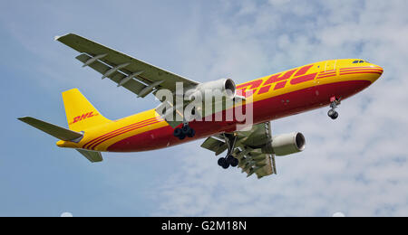 DHL Express Airbus a300F D-AEAM coming into land at London Heathrow Airport LHR - Stock Photo