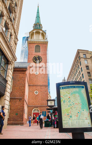 BOSTON, MASSACHUSETTS - MAY 14, 2016: Street view of the Old South Meeting House on Boston's Freedom Trail. This - Stock Photo