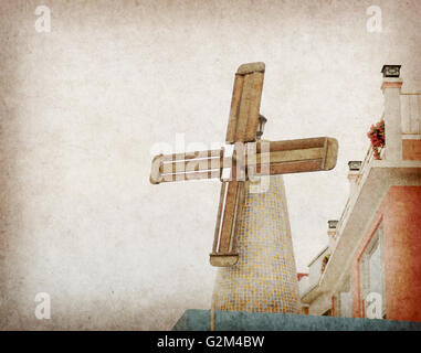 The old windmill on the old brown paper - Stock Photo