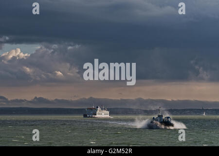 Hovercraft, AP1-88 – Island Express owned Hovertravel traveling to Ryde, Isle of Wight, UK Wightlink Ferry in the - Stock Photo