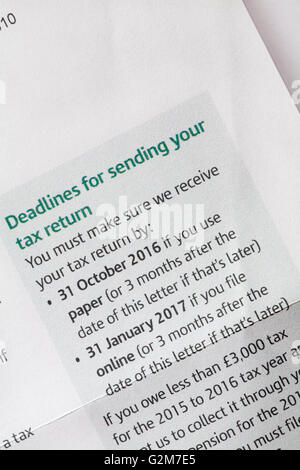 Deadlines for sending your tax return - information on Self Assessment Notice to complete a tax return from HM Revenue - Stock Photo