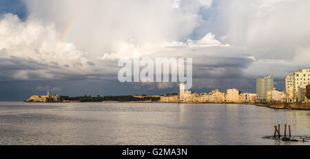 A panoramic image of the sun starting to set over the Malecon Highway in Havana. - Stock Photo