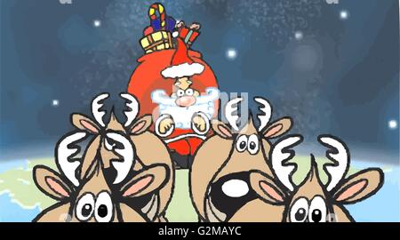 Santa Claus and reindeer in sky - Stock Photo