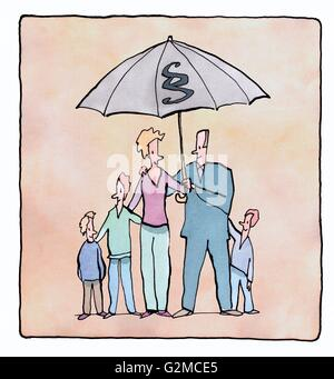 Family under umbrella with paragraph sign on it - Stock Photo