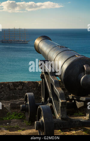 Cannon at Ft George overlooking the Caribbean Sea, St Georges, Grenada, West Indies - Stock Photo