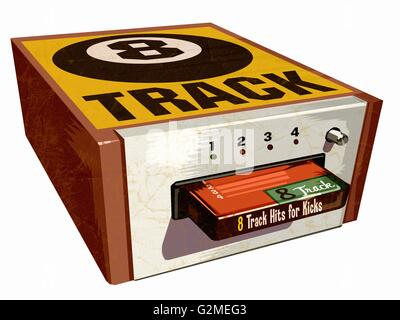 Old audio cassette and player - Stock Photo