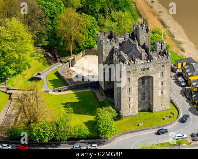 Aerial view, Bunratty Castle, Bunratty Castle, beside Irish Pub Dirty Nelly's, Derty Nelly's, COUNTY CLARE, Clare, - Stock Photo