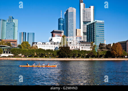 the city of frankfurt office buildings and the river - Stock Photo
