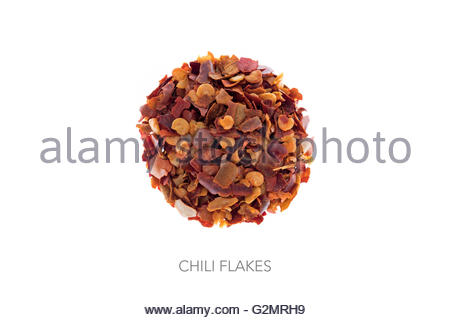Chili flakes shape of ball circle round - Stock Photo