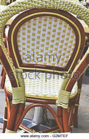 Coffee cane chair handmade closeup - Stock Photo