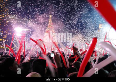 People celebrating New Year on 1 January 2009 at Nathan Phillips Square, Toronto, Ontario, Canada, Toronto, Ontario - Stock Photo