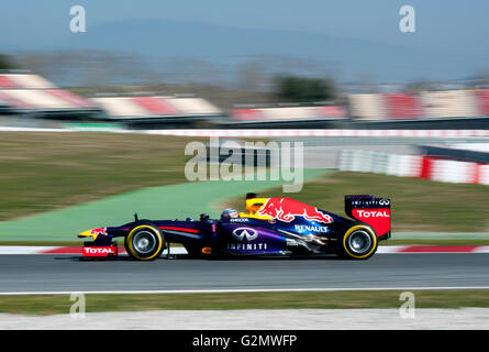 Sebastian Vettel, in Red Bull Racing Renault RB9, during Formula 1 test run on 19 - 22.02.2013 at the Circuito de - Stock Photo